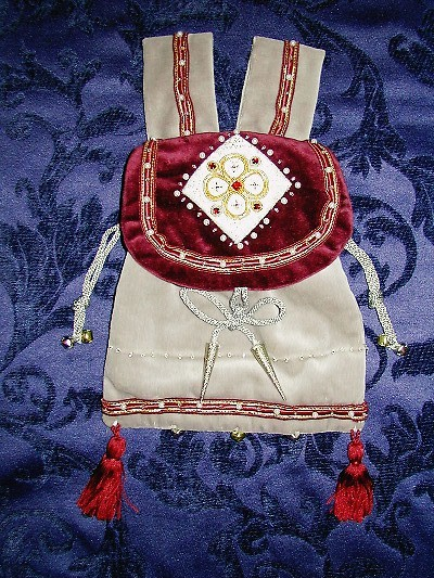 Dove grey and burgundy velvet pouch with goldwork quaterfoil and 5 red jewels