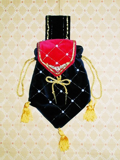 Red and blue velvet pouch with gold criss-cross and pearls