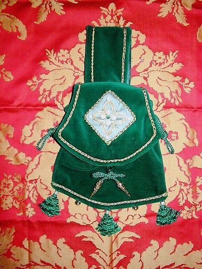Jade green velvet pouch with goldwork and pearls reproduced from a Mantle Tasseau