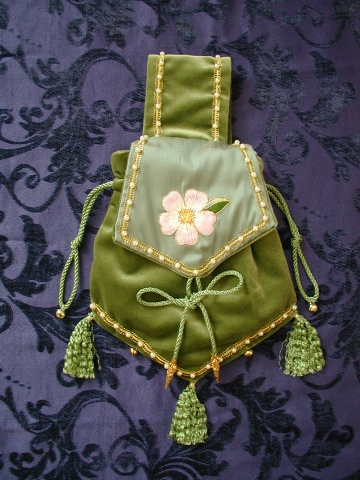 Pale Green Velvet Pouch with Green Silk Flap, embroidered with a Dog Rose in Silks, surrounded with a fine edge of Gold.