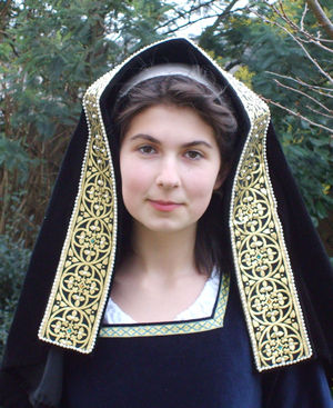 English Gable Hood in Black Velvet with Gold and Black Stiffened Jewelled Lappet